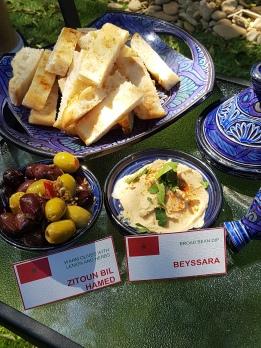 Warm olives with lemon and herbs (Zitoun bil hamed) and Broad bean dip (Beyssara)