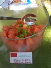 Watermelon with rosewater and mint (Dalaah bil ma'el ward wal n'na)