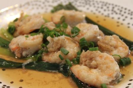 Steamed garlic prawns